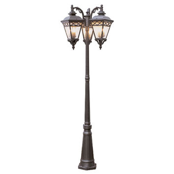 Trans Globe Lighting 50518 RT Rust Braided 9 Light Lamp Post with Clear Seeded Glass