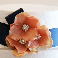 Navy and Peach Party Decorations,Wedding Cake Decorations, Navy Wedding Accessory, Cake Decoration, Navy and Peach wedding