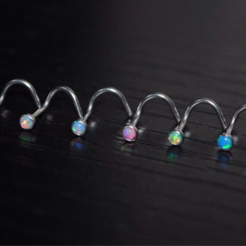 Fire Opal Nose Stud Ring Corkscrew 20G Fish Hook Opal Jewlery Choose Your Color Stone