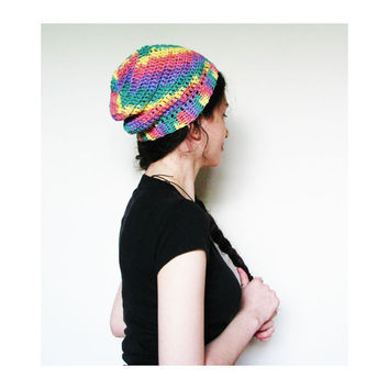The Perfectly Slouchy Beanie - Rainbow Candy Slouch Beanie Womens Mens Unisex Christmas in July Sale Free Shipping CIJ Sale ChristmasinJuly