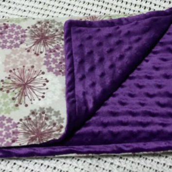 Purple and Pink Floral Minky Baby Blanket (flannel, pink, soft, flowers, brown, muted tones, royal purple)