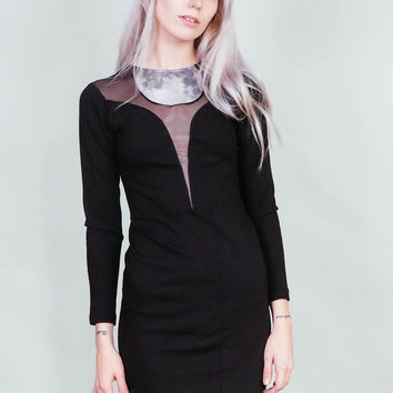 Moonsuit - Black dress with moon and sheer inserts