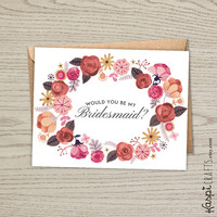 INSTANT DOWNLOAD, Would you be my bridesmaid? printable greeting card, floral wreath, blush greeting card, will you be my bridesmaid