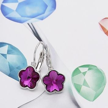 Rhodium Plated Women Flower Leverback Earring, with Rose Swarovski Crystals, by Folks Jewelry