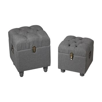 Grey Linen Storage Benches Grey Linen