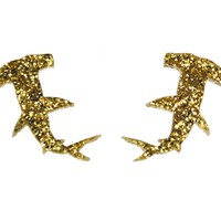 Hammerhead Shark Earrings in Glitter Gold