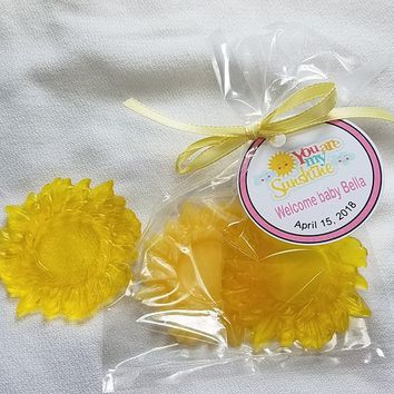 You Are My Sunshine Baby Shower Party Favors -  Soaps with bags & personalized tags included for Baby Shower or First Birthday Pack of 10