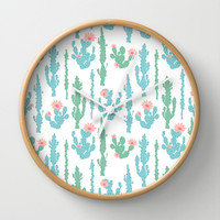 Cactus Pattern Wall Clock by Figen Topbas   Society6