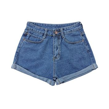 Fashion Retro Women Girls High Waist Slim Curling Denim Jeans Shorts Pants S-4XL Stylish