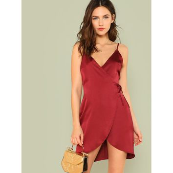 Burgundy Sleeveless Knot Dress