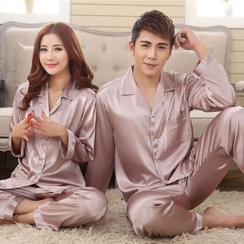 Spring Summer Grey Pink Silk Lovers Set Fashion Lounge Long-sleeve Sleepwear Pajamas For Women Hot Sale Female Satin Nightgown