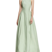 High-Neck Faille Full-Skirt Gown