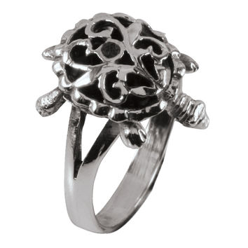 Movable Turtle Sterling Silver Ring