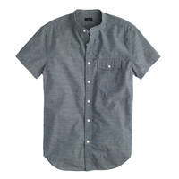 SECRET WASH SHORT-SLEEVE BAND-COLLAR CHAMBRAY SHIRT
