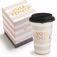 Vote Female Commuter Mug in Candy Stripe and Metallic Gold