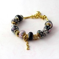 Pink and Black Pandora Style Charm Bracelet in Gold and Silver EB1152