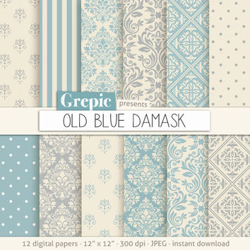 "Blue damask digital paper: ""OLD BLUE DAMASK"" digital paper pack with soft vintage blue and cream damask backgrounds and classical patterns"