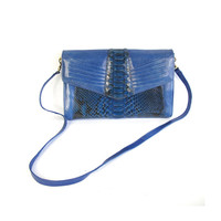 80s Cobalt Blue Snake Skin Leather Purse Genuine Snakeskin Purse Cross Body Bag Blue Snakeskin Purse Envelope Flap Fancy Evening Clutch