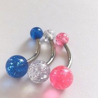 Belly bars bar navel ring body piercing glitter pink blue clear surgical steel