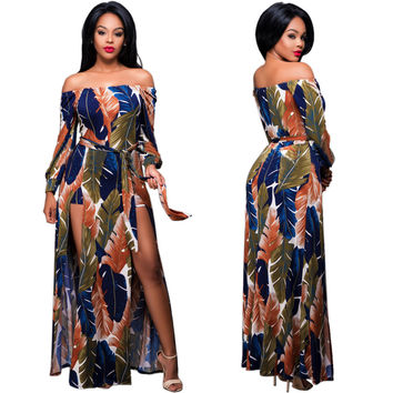 Feather Print Off-Shoulder Thigh High Slits Maxi Dress