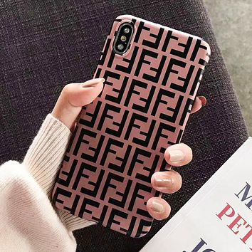 FENDI Fashion iPhone Phone Cover Case For iphone 6 6s 6plus 6s-plus 7 7plus iPhone X XR XS XS MAX Pink