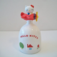 Vintage Hello Kitty Red Airplane Bell Sanrio 1976 Retro Ceramic Japan Collectible
