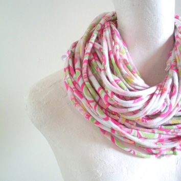Pink Infinity Scarf Upcycled Pastel Circle Scarf Spring Fashion Pink Green Feminine Easter Eco Friendly Floral Cowl Scarf