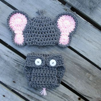 Grey Crochet Baby Girl Elephant Outfit Newborn Photo Prop