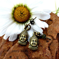 Post back very small Bronze charm earrings, yoga, Buddhist jewelry.