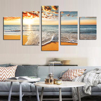 5 Piece(No Frame) Sunset sea Modern Home Wall Decor Canvas Picture Art HD Print Painting On Canvas