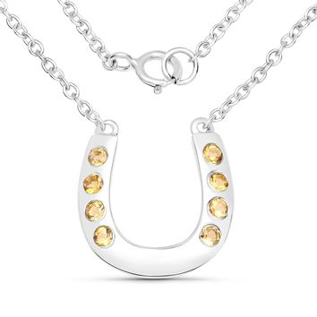 LoveHuang 0.23 Carats Genuine Citrine Horseshoes Necklace Solid .925 Sterling Silver With Rhodium Plating, 18Inch Chain