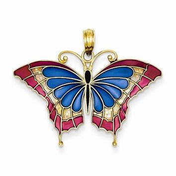 14k Gold Blue Stained Glass Wings Butterfly Pendant