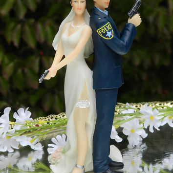 Police Officer Bride Groom Guns Wedding Cake Topper law enforcement classic garter