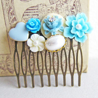 Bridal Hair Comb Shabby Chic Hair Comb Wedding Tiffany Blue Inspired Turquoise Hair Comb Bohemian Victorian Vintage Style - Blue and White