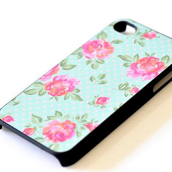 Floral Flower iPhone Case - Roses Polka Dots Pale Green
