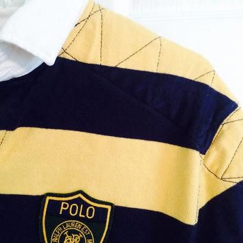 polo ralph lauren navy blue & yellow rugby shirt / medium