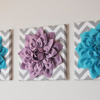 "CHOOSE THREE COLORS- Dahlia Wall Flowers -Mix and Match Your Colors- 12 x12"" Canvas Wall Art- 3D Felt Flower"