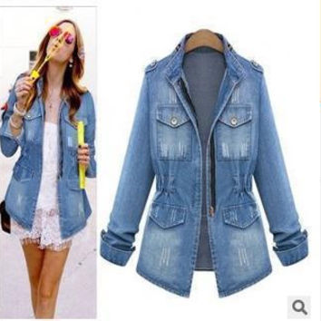 new women's short denim jacket coat jaqueta feminina women slim zipper pockets denim jackets outerwear jeans coat large size