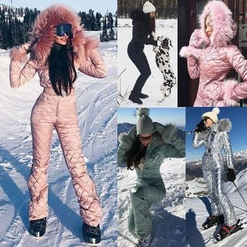 2017 Winter New Women Fashion Large Raccoon Fur Collar Park Jumpsuit Big Hooded Down Coat Slim Waist Cotton Padded Playsuit Wint