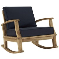 Pre-owned Indoor/Outdoor Teak Rocking Chair