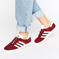 adidas Originals Burgundy Suede Gazelle Unisex Sneakers at asos.com
