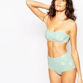 Monki Margie High Waist Spotty Bikini Bottom