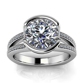 Half Bezel Set Engagement Ring Split Shank Diamond Band - Vidal