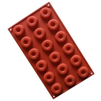 18 Hole Cavity Donut Doughnut Baking Mold Cake Chocolate Cookie Candy Mould Silicone