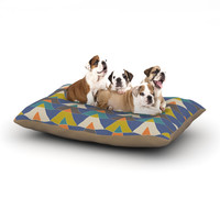 "Julia Grifol ""Colorful Triangles"" Blue Multicolor Dog Bed"