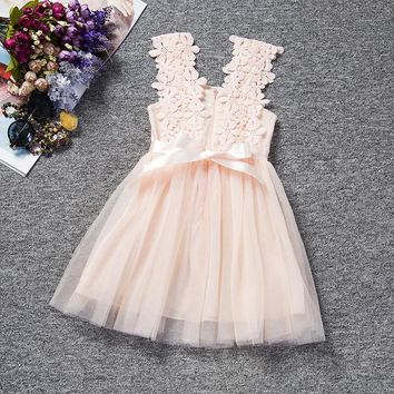 2017 New Summer lace dress for girls as princess for children's party and cocktails.