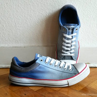 Blue & grey ombre Converse low tops, upcycled vintage sneakers, dip dye Chucks, UK 10 (eu 44, US men's 10, US wo's 12)