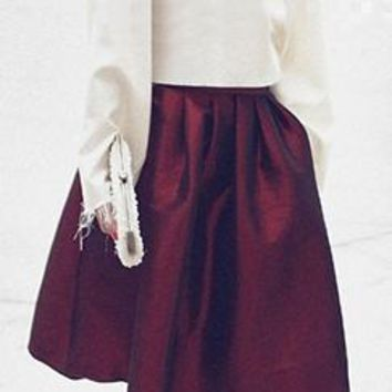 Burgundy Wine Pearlescent Bell Flare A Line Pleated Skater Midi Skirt