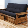 Rosemount Full Size Sofa Futon and Drawer Set, Honey Oak Wood Frame and Suede Innerspring Mattress, Black