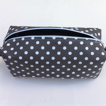 Grey and White Polka Dot Cosmetic Pouch, Grey Pencil Case with Polka Dots, Zipper Pouch